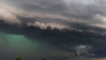 Green thunderstorm clouds